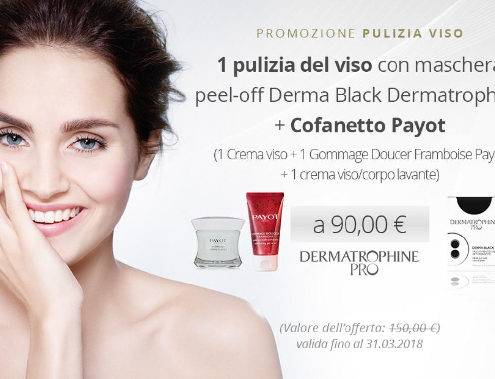 Promozione: Pulizia del viso con maschera peel-off Derma Black Dermatrophine + Cofanetto viso Payot