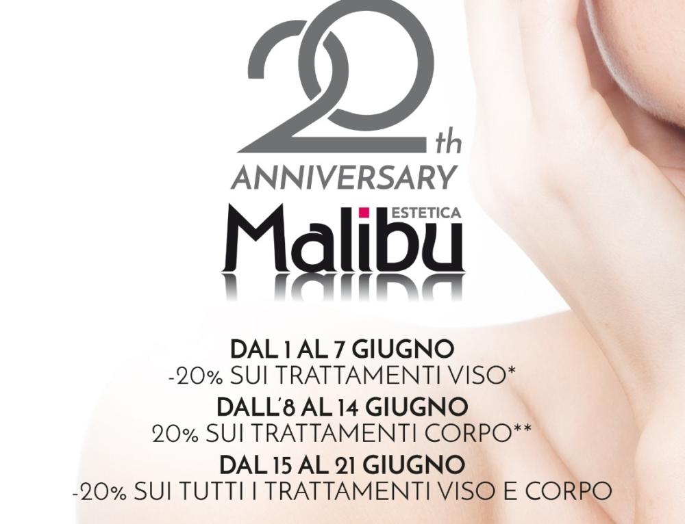 Festeggia i 20 anni di Malibu insieme a noi: per te 20 giorni al 20% di sconto sui trattamenti!